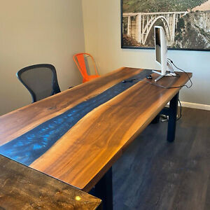 Epoxy Table, dining, sofa, center table top Live Edge Wood Custom Order Decorate