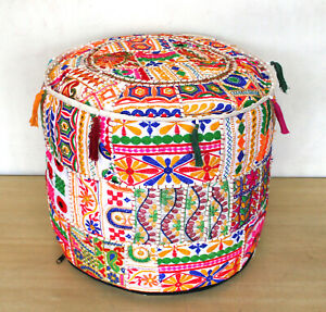 New Vintage Ottoman Pouf Cover Indian Patchwork Handmade Pouffe Decorative Round