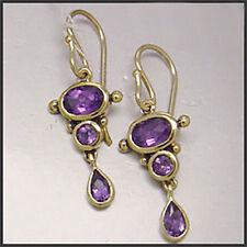 Hook Amethyst Yellow Gold Fine Earrings
