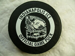 CHL Indianapolis Ice Die Cut Ring Logo Official Game Hockey Puck Collect Pucks