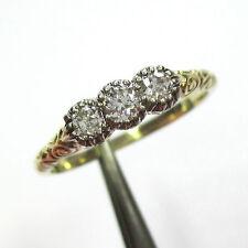 313 - Antiker Damenring aus Gelbgold 585 mit drei Altschliff Diamanten - 2032