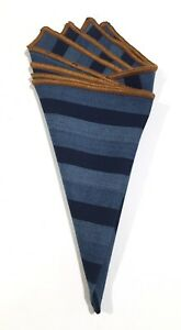 Pocket Square Blue Striped With Brown Stitched Border By Squaretrapny.com