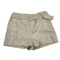 NWT Nine West Womens Linen Blend Shorts Size XL Gold Metallic With Belt $40