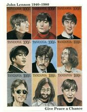 STAMP SHEET-THE BEATLES-JOHN LENNON- 9 STAMPS-TANZANIA+ COA- GIVE PEACE A CHANCE