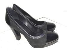 Banana Republic Patent Suede Pumps Heels Platform Shoes Black Womens Size 8
