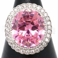 5 Ct Oval Cut Pink Sapphire Moissanite Halo Ring 14K Gold Plated Size 6 7 8 9