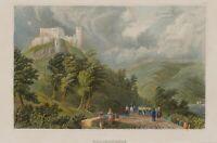 Blick aus dem Tal auf die Falckenburg, 19. Jh., kolorierter Stahlstich