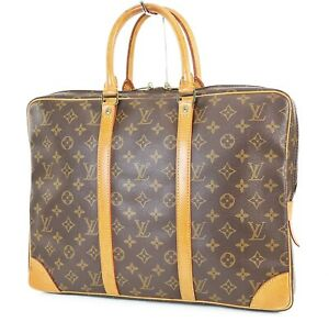 Authentic LOUIS VUITTON Porte-Documents Voyage Monogram Briefcase Bag #38243