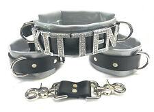 6pc Vinyl & leather restraint set wrist ankle cuffs lockable HUGE crystal collar