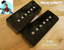 G.M. P-90 soap Bar Pickup Set Black Alnico 5 for Gibson, Epiphone ®