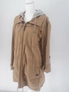 Vintage Light Brown Eddie Bauer Gray Hooded 100% Cotton Womens Sz  XXL Raincoat