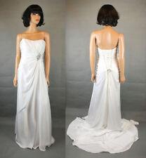Dere Kiang Wedding Dress Sz 14 L Strapless White Satin Corset Back Gown Train