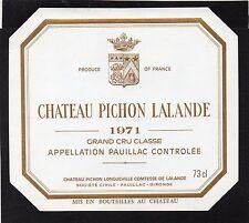 PAUILLAC 2E GCC ETIQUETTE CHATEAU PICHON LONGUEVILLE COMTESSE 1971   §02/01/17§