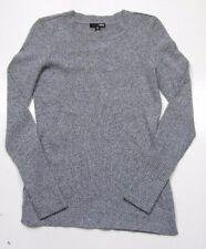 Aqua Women's Crew-Neck Heather Gray Twist Cashmere Fitted Sweater $158