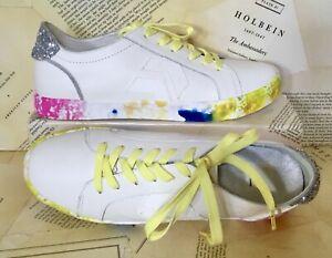 Dolce Vita Sneaker Zaga Tie Dye Sole Ivory Leather Glitter Back Citron 9.5 NEW