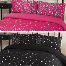 duvet quilt cover with pillow case bedding set glitz print black white pink