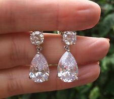 CZ TEAR DROP BRIDAL EARRINGS CUBIC ZIRCONIA 925 STUDS BRIDE BRIDAL JEWELRY GIFT
