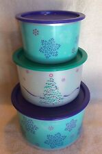 Tupperware CHRISTMAS TREES & SNOWFLAKES STACKING CANISTERS ~Set of 3~ BRAND NEW!