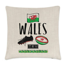 Rugby Wales Linen Cushion Cover Pillow - Funny League Union Flag Sport