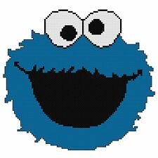 Counted Cross Stitch Pattern, Cookie Monster Face - Free US Shipping
