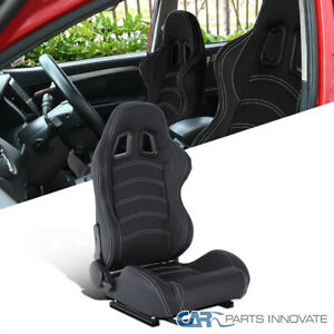 Black PVC White Stitch Reclinable Passenger Right Side Racing Seat w/ Slider