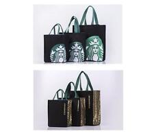 New Starbucks CANVAS TOTE  BAG HANDBAG Lunch Bag BLACK MEDIUM SIZE FREE US SHIP