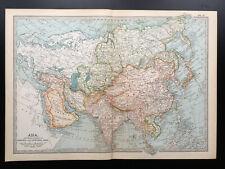 Antique Map Of Asia Siberia Arabia Japan China Persia India   1903