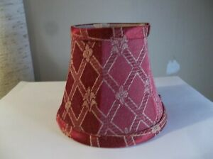 UNBRANDED SMALL CLIP ON LAMP SHADE NEW MAROON FLORAL GEOMETRIC ELEGANT 4 INCHES