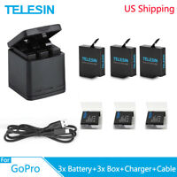 TELESIN 3 Way Battery Charger Box + 3 Battery Type-C Cable For GoPro Hero 5 6 7