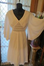 VINTAGE ~ ROCKMANS ~ White Crinkle/Bishop Sleeve  DRESS * Size 16 *