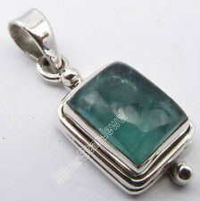 """925 STERLING Silver Unseen GREEN APATITE Stone OXIDIZED Pendant 1.1"""" WELL MADE"""