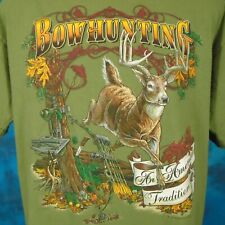 vintage 90s DEER BOW HUNTING T-Shirt LARGE buck archery knife arrow nature soft
