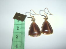 Quality M&S Brown Agate Gold Plate ? Triangular 30mm Drop Hook Earrings