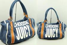 CHOOSE JUICY COUTURE Canvas Leather Shoulder Bag Varsity Tote Purse Handbag