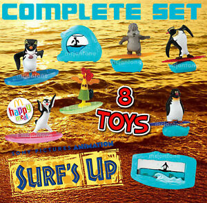 MIP SET 8 McDonald's 2007 SURF'S UP Penguin Movie SURFING Surfer Surf CODY LANI