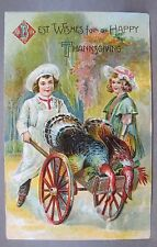 1909 THANKSGIVING young lad pushing cart w/ dead turkeys embossed postcard *