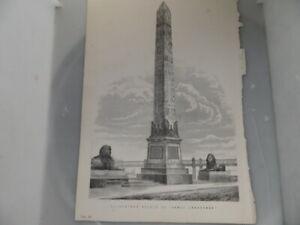 Obelisk Architecture Engraving Print Original    Cleopatra's Needle on Thames