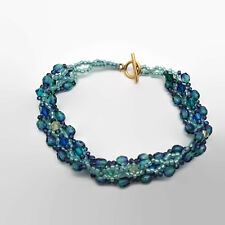 Woven Beadwork Blue Seed Bead & Faceted Glass Bead Toggle Bracelet
