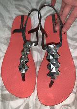 ipanema Size 6 Flip Flops Coral & Silver Grey BN