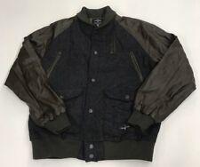 Crooks And Castles Herringbone Brown Leather Sleeve Varsity Jacket Olive Trim