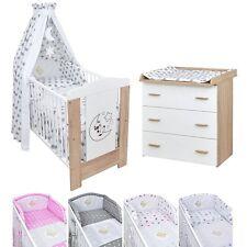 Babyzimmer Babybett Kinderbett Mond & Teddy Wickelkommode Bettset komplett