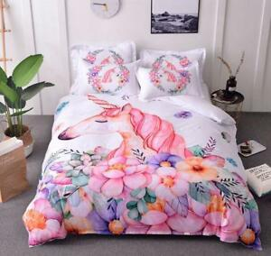 colorized Unicorn Bedding set Duvet/Quilt Cover Pillowcase Domitory/Bedroom HOT
