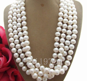 """BEAUTIFUL 64"""" 9-10MM WHITE SOUTH SEA BAROQUE PEARL NECKLACE"""