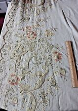 Antique French c1890 Multicolored Hand Embroidered Floral Tambour Curtain Panel