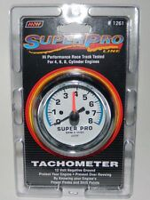 """NEW SUPER PRO 3"""" Tachometer w/ Mount 0-8000 RPM White Face for 4 6 8 cylinder"""