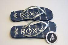 NEW Roxy -9- Women's Melon III Summer Beach Sandal Flip-Flops Thong Blue Silver
