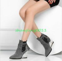 Womens fashion clear wedge heels pointed toe pull on strappy shoes ankle boots