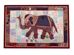 """Elephant Wall Hanging Patchwork Tapestry Beaded Hand Embroidered Throw Decor 60"""""""