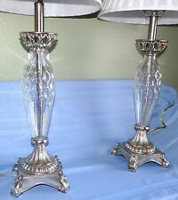 Pair Modern Silver & Clear Dot Art Glass Table Lamps w Shades Hollywood Regency