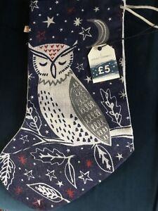 Seasalt Jute Christmas Stocking 'Sleepy Midnight Owl' BNWT
